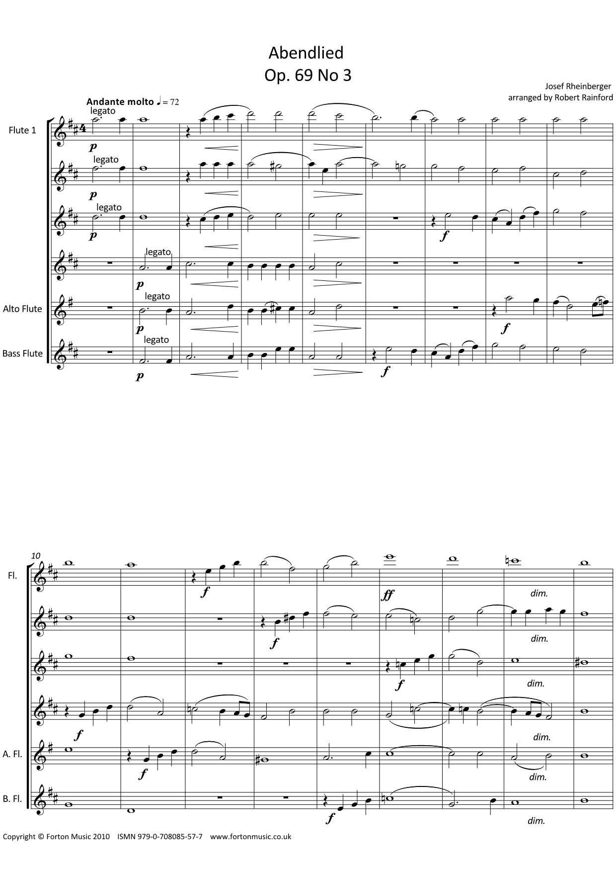 Abendlied Op 69 no 3