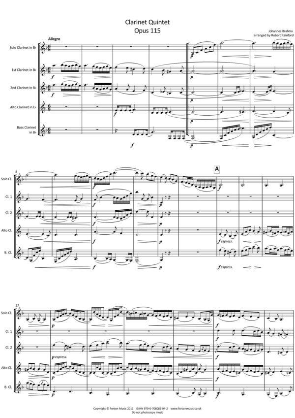 Clarinet Quintet Opus 115