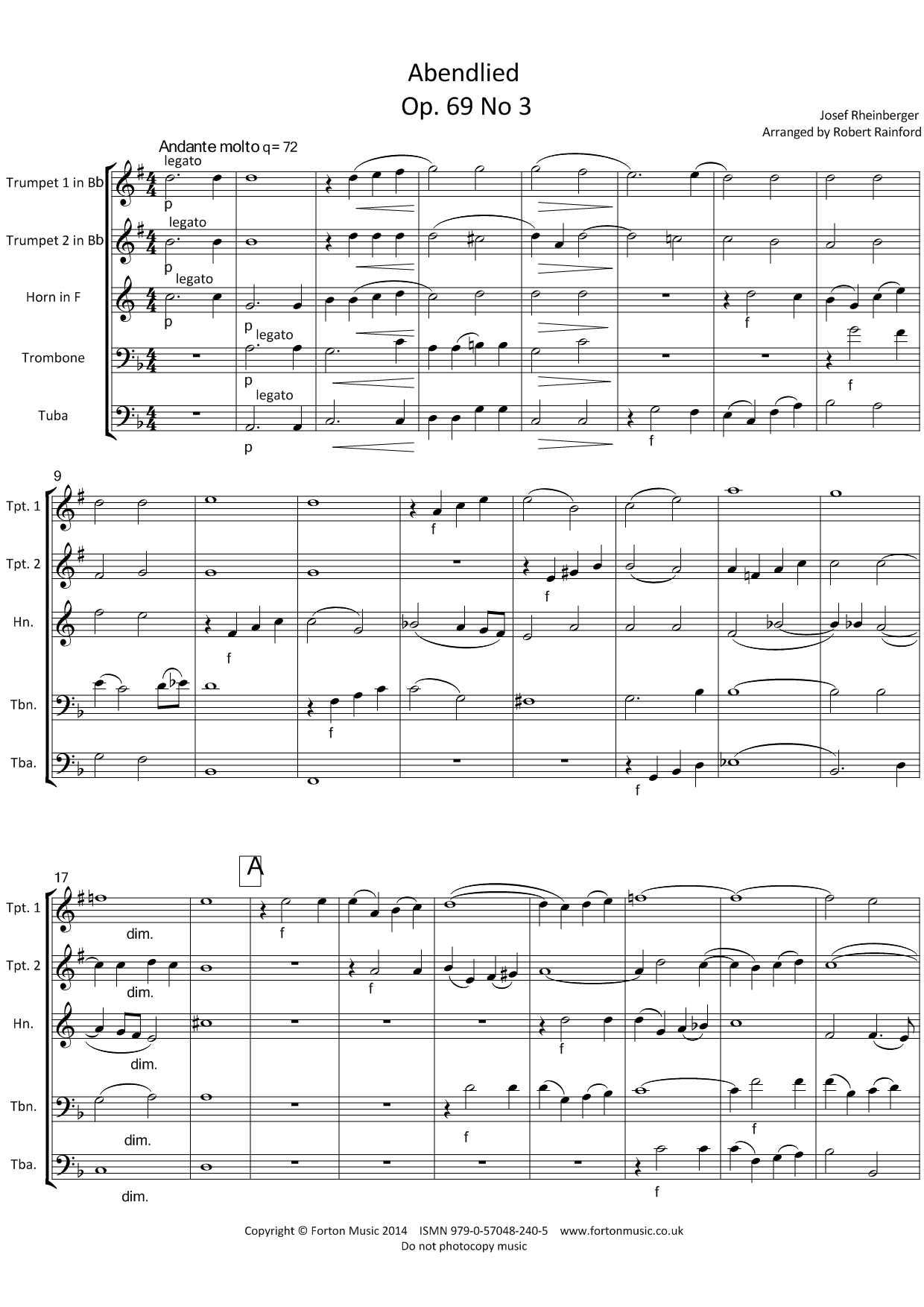 Abendlied Op69 no 3